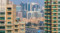 Glass modern buildings of tecom district timelapse middle east architecture Stock Footage