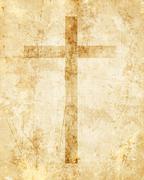 Christian cross on paper background Stock Illustration