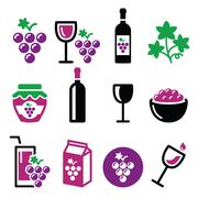 Grapes, wine - food and beverages icons set - stock illustration