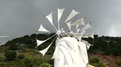 Greece Crete Lasithi Plateau windmills turning Stock Footage
