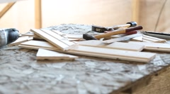 Construction tools on table Stock Footage