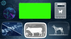 Cow - Animal Monitor - Bone scanning - World search - blue 02 Stock Footage