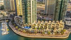 Beautiful aerial view timelapse of Dubai Marina at day time in Dubai, UAE Stock Footage
