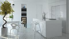 Compact modern white kitchen interior - stock illustration