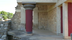 Greece Crete Knossos column in ruin Stock Footage