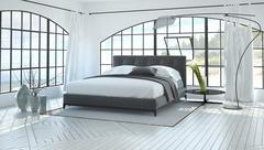 Large spacious bright bedroom interior - stock illustration