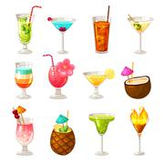 Club Cocktails Icons Set Stock Illustration