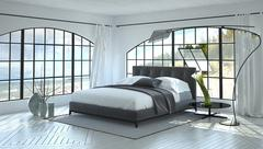 Modern bright and airy bedroom interior - stock illustration