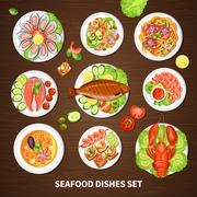 Poster With Seafood Dishes Set Stock Illustration