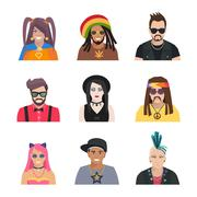 Subcultures People Icons Set Stock Illustration