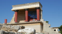 Greece Crete Knossos restored portico good view Stock Footage