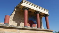 Greece Crete Knossos restored portico good Stock Footage