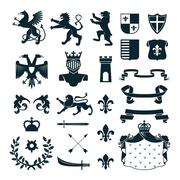Heraldic Symbols Emblems Collection Black Stock Illustration