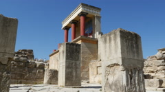 Greece Crete Knossos restored ruin side view Stock Footage