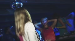 Young lesbian girls enjoy party in nightclub. Sexy dancing and kiss - stock footage