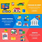 Loan Debt Horizontal Banners Stock Illustration