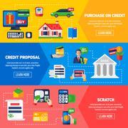 Loan Debt Horizontal Banners - stock illustration
