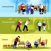 Elderly People Banners Set Stock Illustration