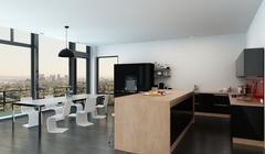 Spacious open-plan kitchen dining room interior - stock illustration