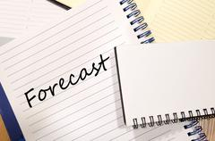Forecast write on notebook Stock Photos