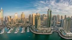 Beautiful aerial top view at sunset timelapse of Dubai Marina in Dubai, UAE Stock Footage