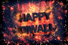 Burning embers surrounding Happy Diwali - stock illustration