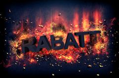 Flaming embers surrounding the word rabatt - stock illustration