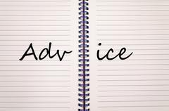 Advice write on notebook Stock Photos