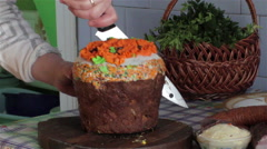 Cutting Easter cake Stock Footage