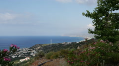 Greece Crete north coast tree framed view Stock Footage