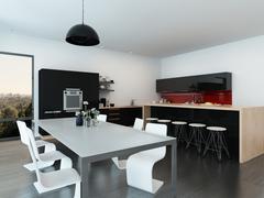 Modern open-plan apartment interior - stock illustration
