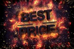Fiery explosive poster template for Best Price Stock Illustration