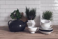 Herbs, Teapot, Cups and Saucers in Modern Kitchen Stock Illustration