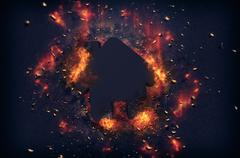 Flaming embers surrounding house icon Stock Illustration