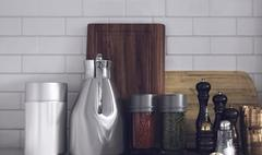 Modern Kitchen Wares Arranged Neatly on Counter Piirros