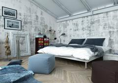 Bedroom with Modern and Antique Decor - stock illustration