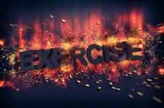 Burning embers surrounding the word exercise Stock Illustration