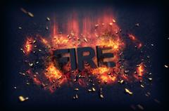 Burning flames and explosive sparks - Fire Stock Illustration