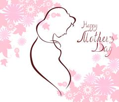 Silhouette of expectant mother with text for Happy Mothers Day celebration - stock illustration