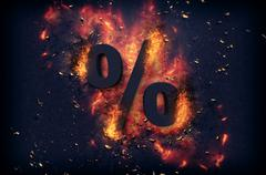 Flaming ashes surrounding a percentage sign Stock Illustration