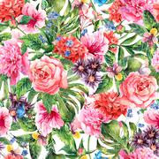 Summer hand drawing watercolor floral seamless pattern - stock illustration