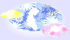 Silhouette of expectant mother in a cloud of flowers. EPS10 vector illustration Piirros