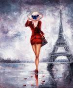 Woman in Paris - stock illustration