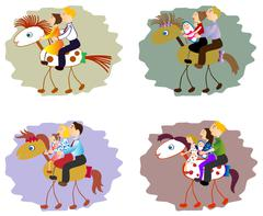 Set of images of funny family - mother, father, children on horse. EPS10 vector Stock Illustration