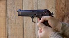 airsoft gun fire,co2 gun,beretta gun - stock footage