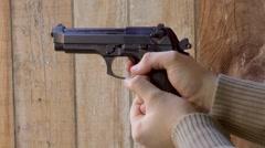 gun fire ,co2 gun,airsoft gun,slow motion,beretta - stock footage