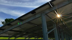 4K of Countryside scenery with solar power plants, Pan shot Stock Footage