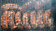Meat sausage barbecue Stock Footage