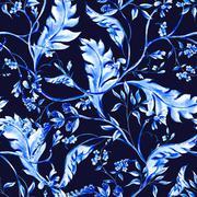 Blue watercolor flower seamless pattern - stock illustration
