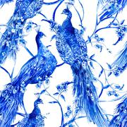 Blue watercolor flower vintage seamless pattern with peacocks - stock illustration
